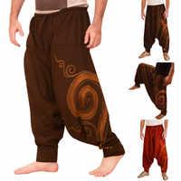 Homme ethnique imprimé salopette décontracté poche Sport Yoga travail décontracté Pantalon Pantalon Pantalon ouvert air pantalons hommes Pantalon Homme