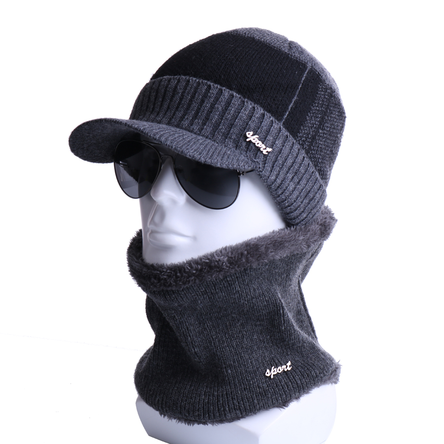 Winter Beanies Scarf 2 Pieces Set Wool Knitted Hat Gorras Bonnet Warm Plush Baggy For Men Women Skullies Beanies Snow Ski Caps winter hats skullies beanies hat for men women wool knit warm plush scarf caps balaclava mask gorras bonnet knitted snow ski hat