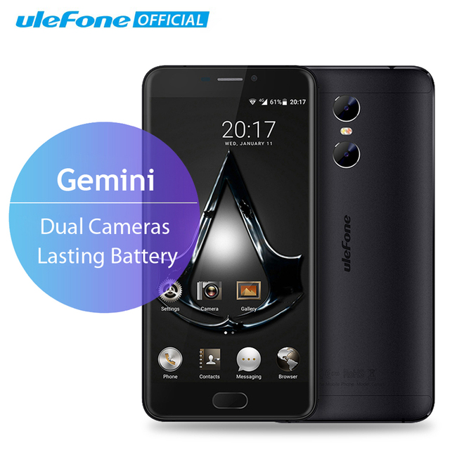Ulefone Gemini Dual Back Cameras Mobile Phone 5.5 inch FHD MTK6737T Quad Core Android 6.0 3GB+32GB Front Touch ID 4G Smartphone