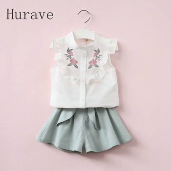 Hurave 2017 summer Korean baby girls clothing set children heart shirt+bow shorts suit 2pcs kids floral bow clothes set suit