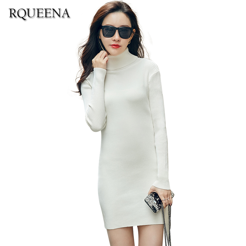 Rqueena Sexy White Dress Long Sleeve Knitted Sweater Dresses For Women 2017 Autumn Winter Fashion