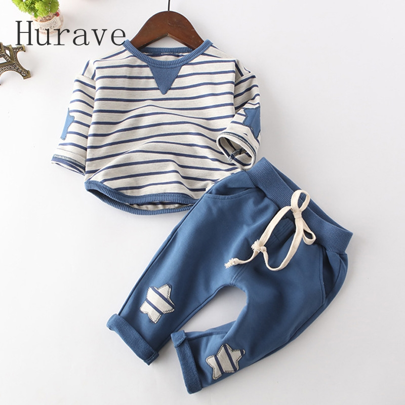 Hurave Infant clothes children spring baby boys clothing sets striped toddler 2pcs star clothes sets boys spring set baby girl 1st birthday outfits short sleeve infant clothing sets lace romper dress headband shoe toddler tutu set baby s clothes
