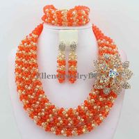 Handmade Indian Nigerian Wedding beads Jewelry Sets Beaded Bridal Necklace african beads Jewelry Sets Free Shipping W10700