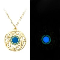 Hot Sale 2 Colors Floral Luminous Necklace Magic Engrave Flower Leaves Glow In The Dark Charm