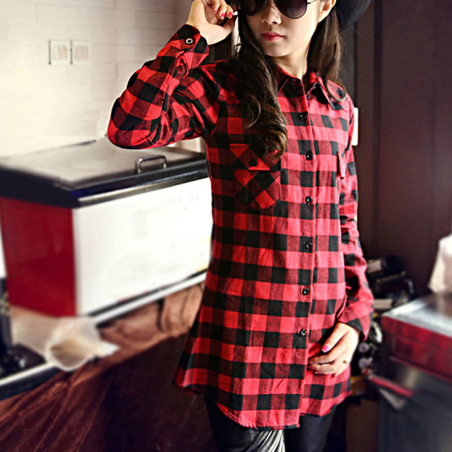 Fashionable Women Shirts 2015 New Red Black Plaid Flannel Shirt Women Brand Long Sleeve Cotton with Double Pockets camisas mujer