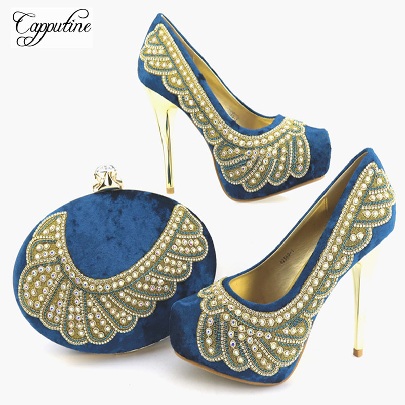 Capputine Italian Design Rhinestone Shoes And Bags Set For Wedding Dress Fashion African Pumps Party Shoes And Bag Set TX-56 capputine italian fashion design woman shoes and bag set european rhinestone high heels shoes and bag set for wedding dress g40