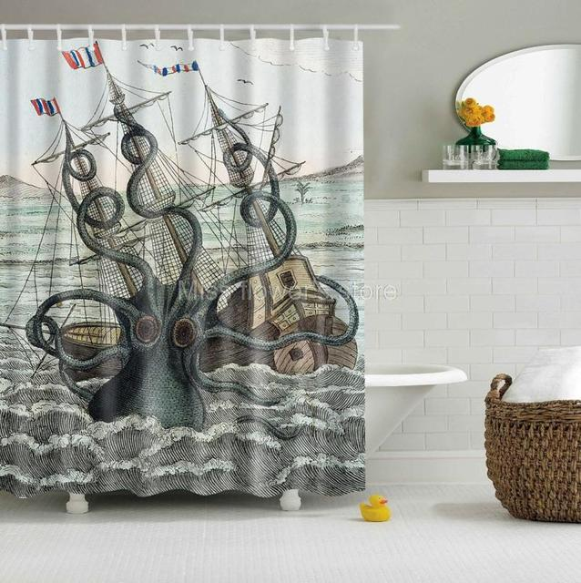 Cartoon Sailing Ship Design Shading Curtain Blackout: Aliexpress.com : Buy Colored Octopus Kraken Attack Galleon