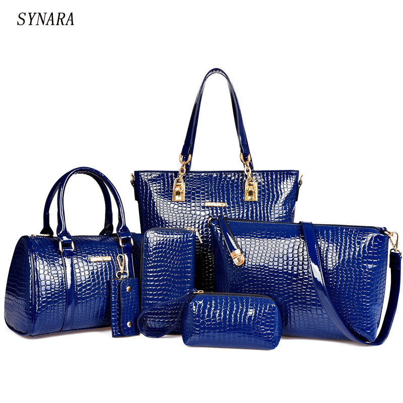 6 PCS/Set Women Bag Crocodile Pattern Composite Bag Stone Women Messenger Bags Shoulder Handbag Purse Wallet PU Leather Handbags 3d frog print ladies handbag women lovely note pattern handbags handbag messenger bag purse multifuction bags