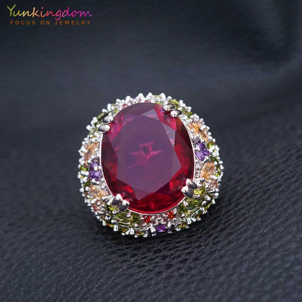 Yunkingdom 31 มม.Cubic Zirconia แหวน Fine สำหรับสุภาพสตรีคริสตัลเครื่องประดับงานแต่งงาน
