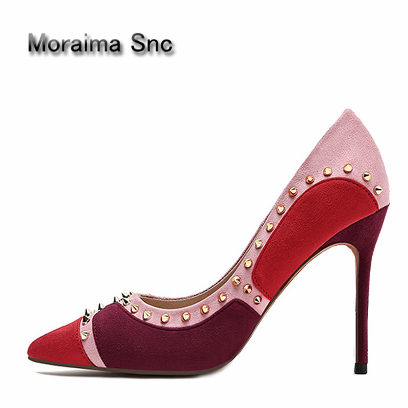 Moraima Snc Newest Mixed Colors Suede High Heel Shoes 2018 Sexy Pointed Toe Rivets Studded Woman Pumps Thin Heels Dress Shoes newest solid flock high heel pumps woman