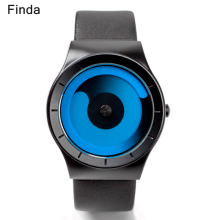 Finda Top Brand Men's Quartz Watches Man Casual Leather Strap Watch Fashion Male Creative Rotation Clock Style Relogio Masculino
