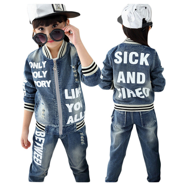Casual Children Clothing Set Kids Baby Boy Sport Clothes Suit 2015 Fashion Girl Suits Denim Jeans +Coat 2 PCS Sets