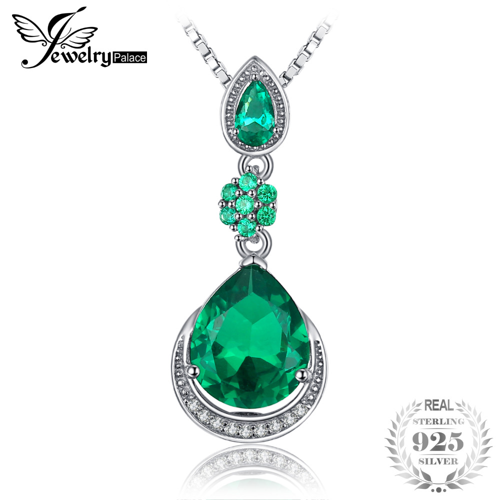 JewelryPalace Elegant 9.84ct Created Emerald Water Drop Pendant 925 Sterling Silver Vintage Fine Jewelry Not Include the ChainJewelryPalace Elegant 9.84ct Created Emerald Water Drop Pendant 925 Sterling Silver Vintage Fine Jewelry Not Include the Chain