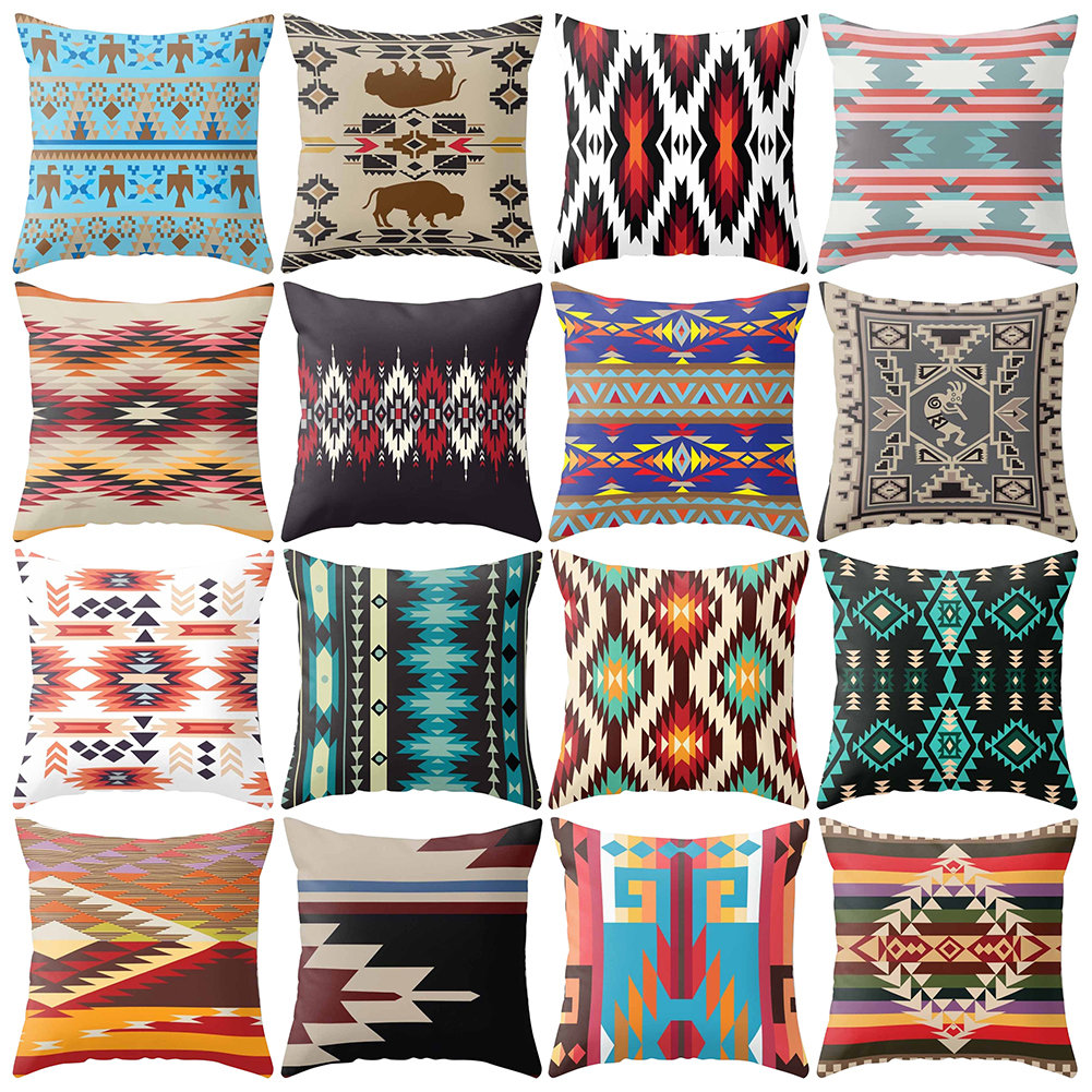 Navajo Triangle Geometric  Pillow Case  Square Pillowcase 45cm x 45cm