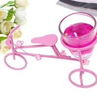 Pink Bicycle Candlestick Wrought Iron Bicycles Candles Creative Jelly Scented Candle Stand Birthday Party Articles