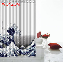 WONZOM Landscape Shower Curtains with 12 Hooks For Bathroom Decoration Modern 3D Polyester Spindrift Bath Waterproof Curtain