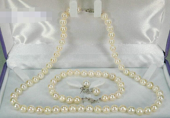Free shipping .656 6-6.5mm AAA+ round white akoya pearl necklace bracelet earring solid free shipping hot sell as3190 gorgeous genuine 7 7 5mm aaa round white akoya pearl necklace gift 32