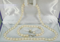 Free shipping .656 6 6.5mm AAA+ round white akoya pearl necklace bracelet earring solid