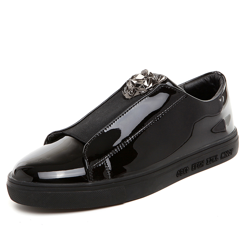 где купить men sport shoes bright male outdoor sneakers patent leather gold silver black blue EU39-44 M03917 по лучшей цене