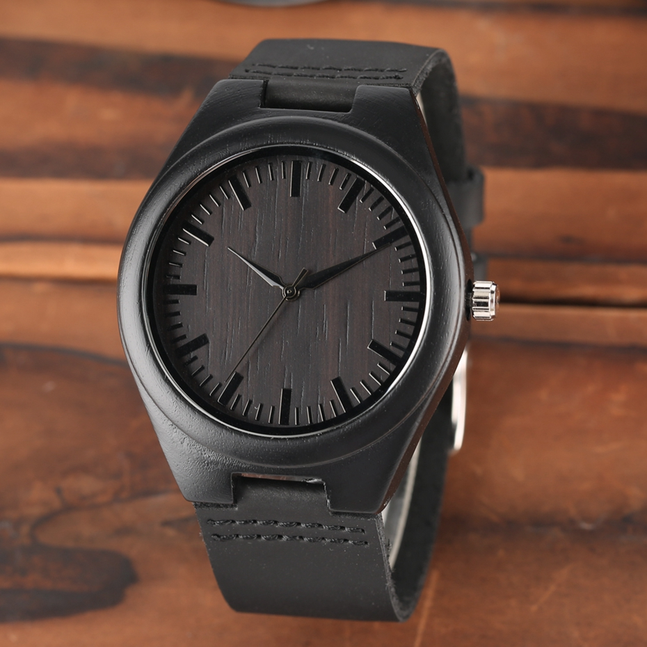 MY MAN Engraved Word Full Black Men's Ebony Wood Watch Clock Male Unique Quartz Leather Valentines Gifts for Husband Boyfriend  2020 2019 2 (15)