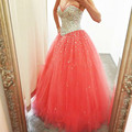 Stunning Ball Gown Prom Dresses 2016 Beaded/Crystal Tulle Puffy Prom Dress Long Evening Party Gown Custom made