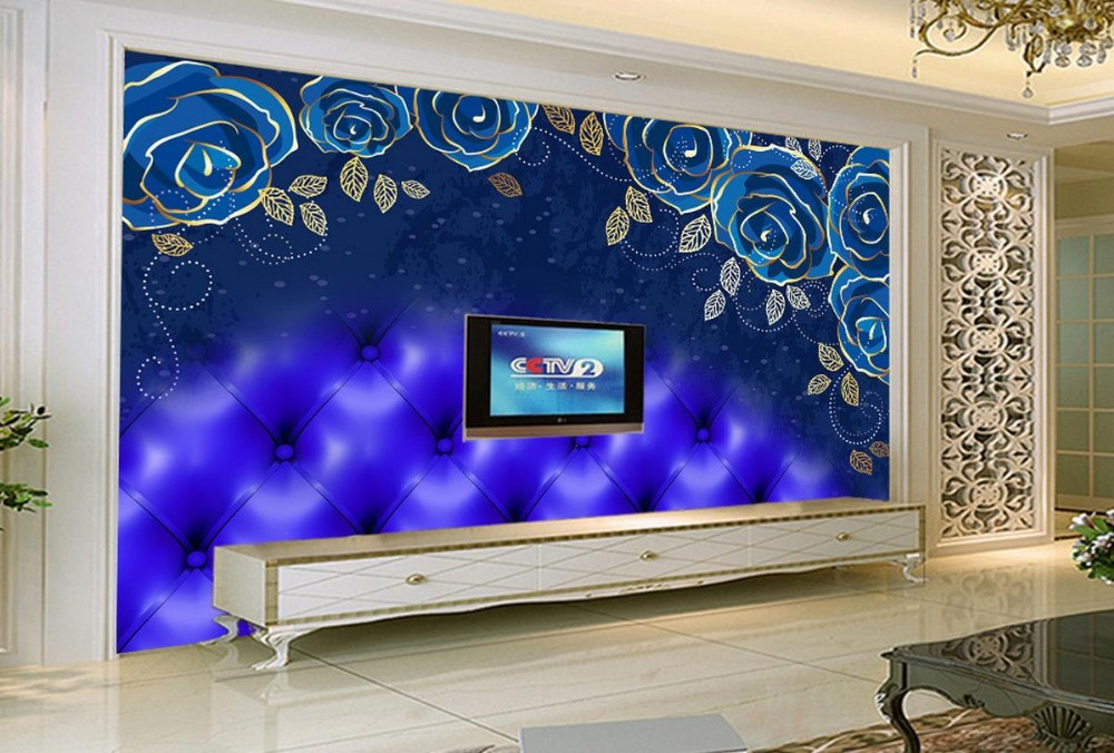 Online buy wholesale blue roses wallpaper from china blue for 3d rose wallpaper for bedroom