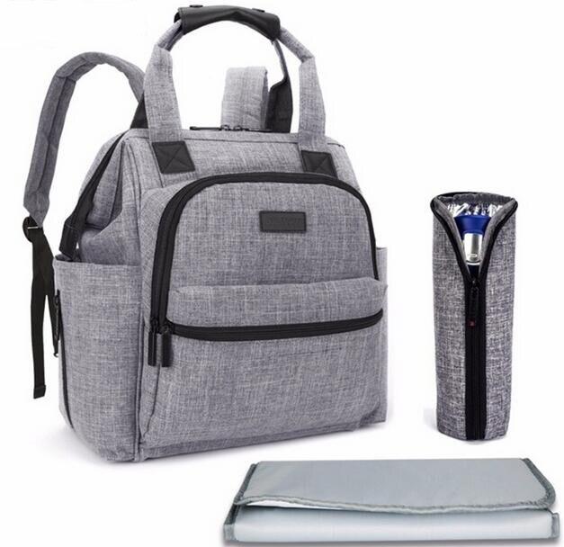 Marca Bay pañal bolso mochila multifuncional bolsa para cochecito para mamá impermeable bolso con almohadilla de cambio