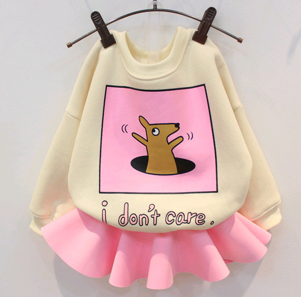1pcs girls tops new 2015 autumn winter cute cartoon pattern children hooded casual warm baby girls pullovers suit 2~7 age