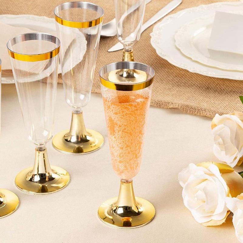 24 Пластиковые Золотые оправы для шампанского   5,5 Oz. Прозрачные Жесткие одноразовые вечерние и свадебные стекла - Цвет: Clear
