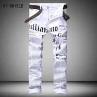 New Luxury Brand Fashion Stretch Mens Jeans White Letters Printing Jeans Men Casual Slim Fit Trousers