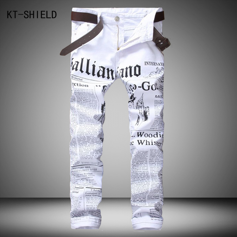 New luxury brand fashion stretch mens jeans white letters printing jeans men casual slim fit trousers denim printed jeans pants xiaomi universal 10400mah usb li ion battery power bank w 4 led indicators deep pink