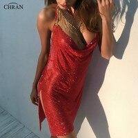 Chran 새로운 섹시한 라인 석 금속 레드 드레스 Chainmail 브라 스트랩 스커트 고삐 목걸이 파티 보석 여성 선물 CRD261