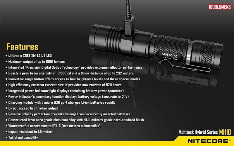 Nitecore MH10 CREE XM L2 U2 1000 лм светодиодный фонарик и зарядное устройство Nitecore 18650 Перезаряжаемые Батарея не Батарея