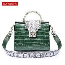 7d1b4ada117 Groene Krokodil Vrouwen Schoudertas Luxe Elegante Top Handvat Tassen Flap  Merk Designer Handtassen Echt Lederen Vrouwelijke