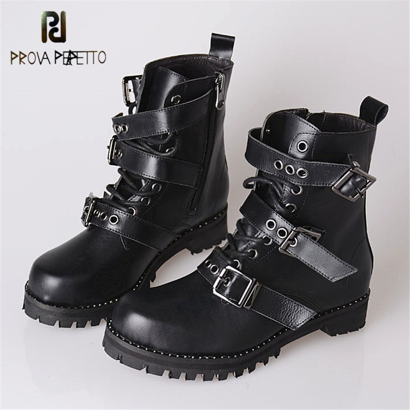 Prova Perfetto 2018 Winter Top Sale Fashionable Square Toe Thick Heel Ankle Boots Black Buckle Strap Cow Leather Lace-up Boots thick strap button up skinny bodysuit