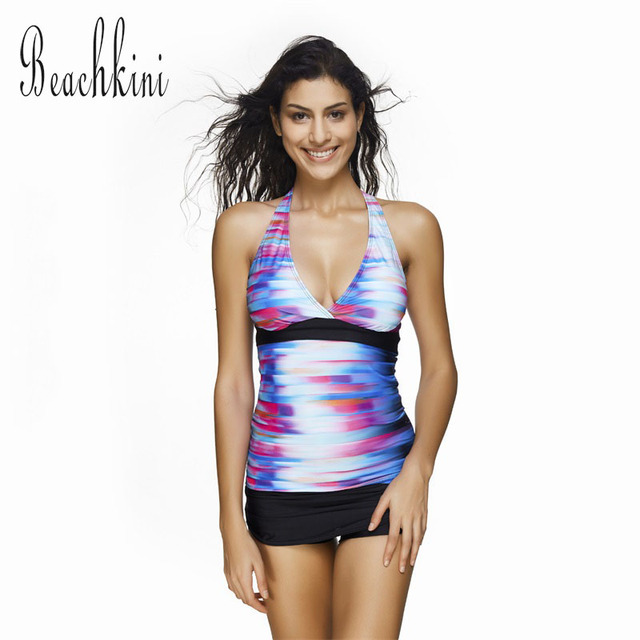 c06ee1243d Deep V Sport Tankini 2018 New Vest Two Pieces Swimsuit With Black High  Waist Shorts Multicolor Striped Bathing Suit S-3XL
