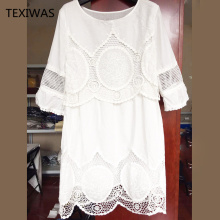 TEXIWAS Half Sleeve Loose Lace Dress
