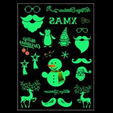 Luminous Tattoo Glow In The Dark Glitter Christmas Tatoo Flash Fluorescent Temporary Tattoos Stickers Water Transfer Body Art