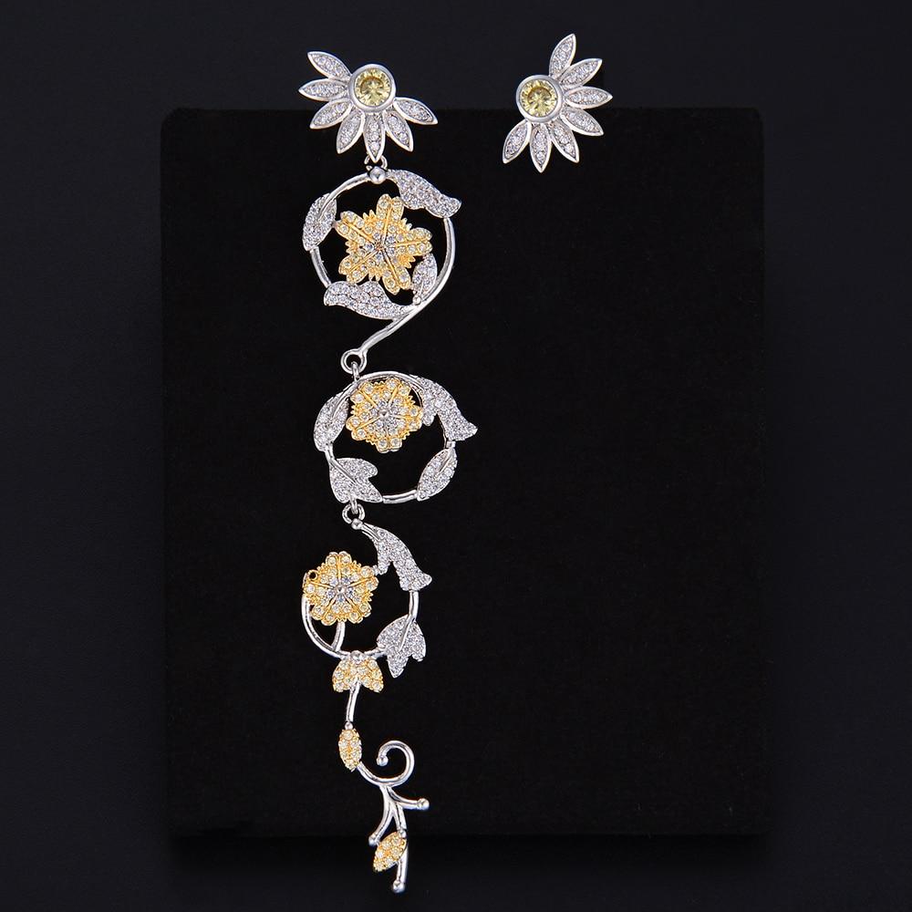 Unique Asymmetry Flower Petals Leaves Pendant Drop Dangle Earrings For Women Girls