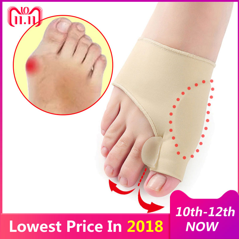 2Pcs=1Pair Toe Separator Hallux Valgus Bunion Corrector Orthotics Feet Bone Thumb Adjuster Correction Pedicure Sock Straightener цена