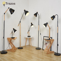 TRAZOS Living Room Floor Lamp with Built In Tray Standing Light For Home Deco Reading Luminaria de mesa Cloth Lighting Fixtures