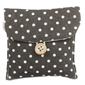 Woman Purse Handbag Dark Brown Polka Point Buttons closure sanitary napkins holder