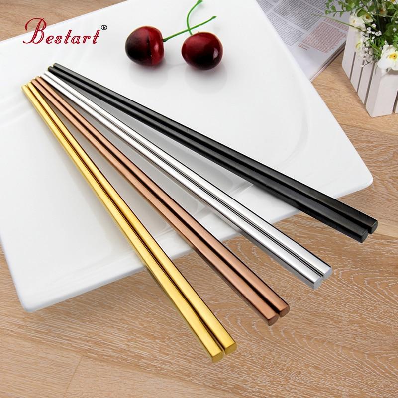 4 páry Potravinářské hůlky z prvotřídní nerezové oceli 304 Protiskluzové nádobí Korejský kovový čtverec kotleta s hůlkami Sada 4barevná zlatá černá