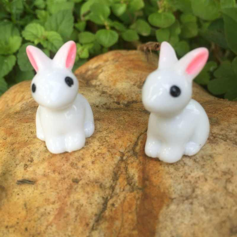 10 PCS Lovely Miniature Mini Resin Rabbit Garden Fairy Ornament Flower Plant Pot Home Figurine Animal Decor