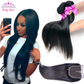 7A  Peruvian Virgin Hair with Closure Peruvian Straight with Closure 3 Bundles Unprocessed Human Hair Bundles with Lace Closures