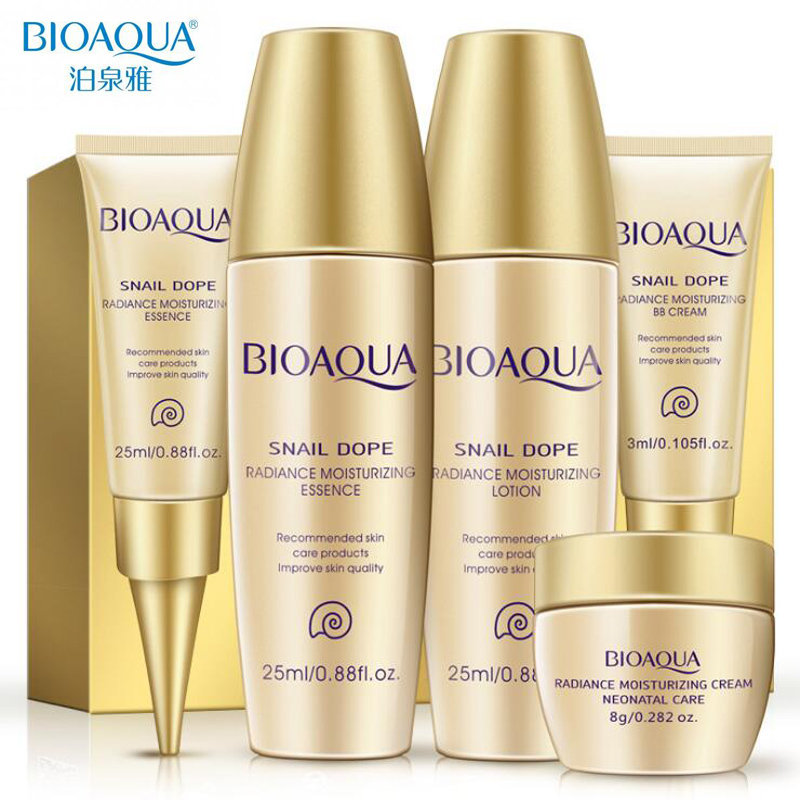 Bioaqua 24K Gold Snail Travel Skin Care Set Anti Aging Wrinkle Essence Eye Cream Toner Facial Cleanser With BB