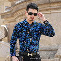 2017Commercial 2016 easy care flower long-sleeve shirt mercerized cotton casual shirt boutique maleBusiness gentleman
