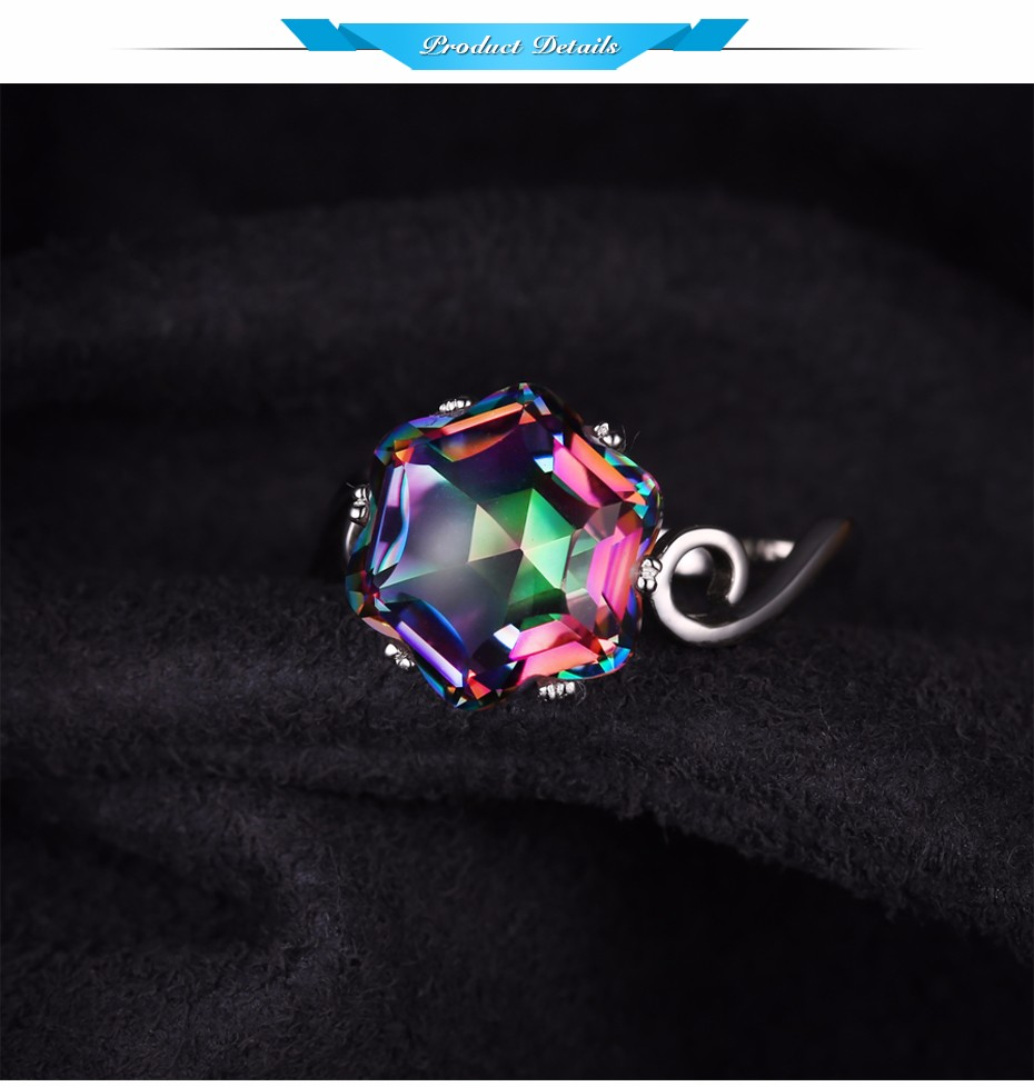 Solid 925 Sterling Silver Rainbow Topaz Ring