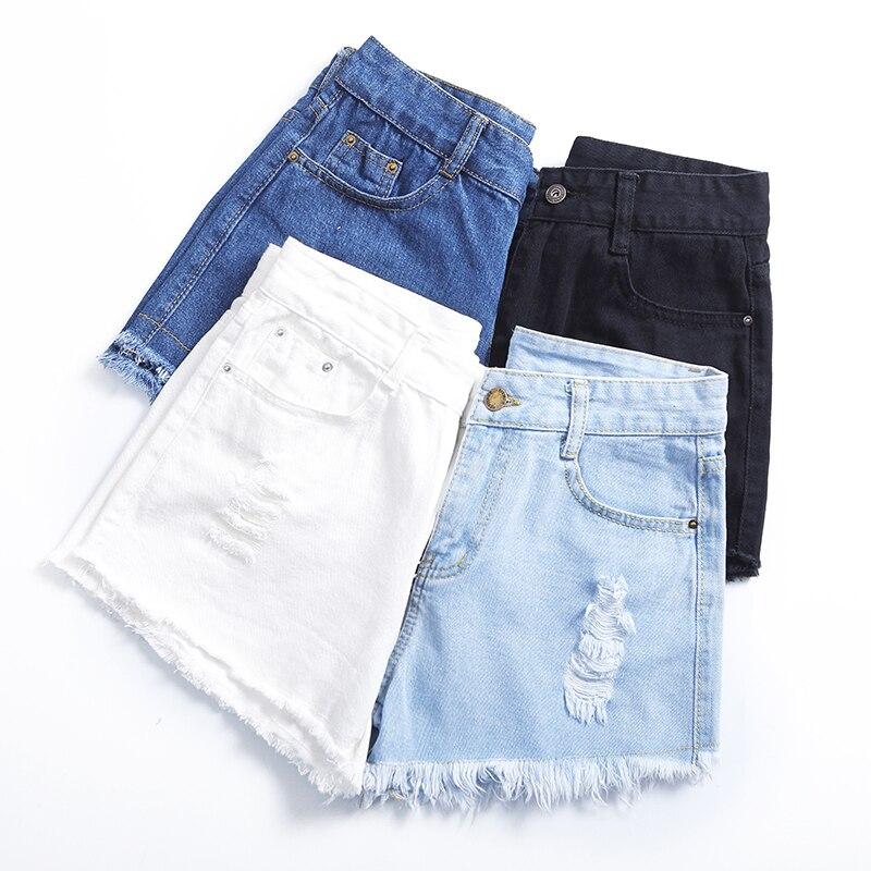 Cotton Fashion Hole High Waist / Black / Blue / Sky Blue Denim   Shorts   Female 2018 New Summer Loose Tassel Denim   Shorts   #109
