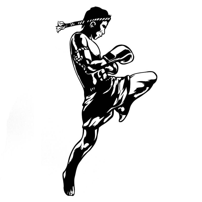 8.8CM*16.4CM Interesting Boxing  Martial Arts Sports Silhouette Vinyl Car Sticker S9-0553
